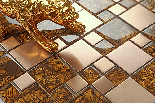 Piastrelle in vetro e acciaio inox spazzolato a mosaico