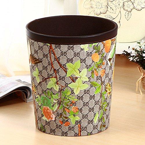 Kreative leder Abfall Hausmüll Warenkorb Warenkorb der Europäischen Mode kreativ Wohnzimmer wastebasket., Blume und Vogel Muster runder Korb (Warenkorb Abfälle)