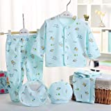 Fancy Walas Presents New Born Baby Summer Wear Baby Clothes 5Pcs Sets 100% Cotton Baby Boys Girls Unisex Baby Cotton/Summer S