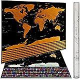 Reise-Weltkarte als Rubbel-Poster, hochwertig–mit eBook–Weltkarte und Flaggen zum Rubbeln –, Edle Rubbel-Weltkarte mit Geschenk-Röhre inkl.–Personalisiertes Weltkarten-Poster–82,5x 59,5cm