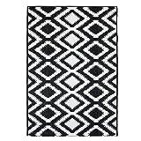 Outdoor-Teppich Flachgewebe Modern mit Zick-Zack-Muster/Chevron-Design in Schwarz, Weiß für Außen/Innengewebe Größe 120/170 cm