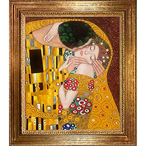 OverstockArt The Kiss with Vienna Gold Leaf Frame by Gustav Klimt Framed Hand Painted Oil on Canvas, Wood,
