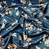 Fabric Styles FS335 Stretch-Stoff, Gingham-Blumendruck,