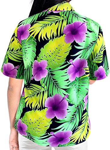 La Leela Frauen Bademode Tag Coverup Hawaiische oben Kurzen �Rmeln Button Unten Luau Partei Damen Violett