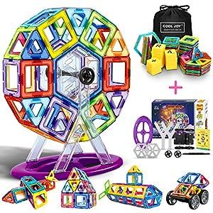 COOLJOY Bloques de Construcción Magnéticos 3D con Letra y Número en Plástico, Juguete Educativo y Creativo para Niños más de 3 años - 100 Piezas - Mejor Regalo de Cumpleaños y Fiestas de COOLJOY
