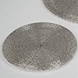 Formano 6er Set Platzset, Untersetzer Perlen Kunststoff Silber Rund Ø 30cm