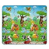 2x1.8m Kinderzimmer Spielteppich Mädchen Junge Mehrfarbige Wasserdicht Spielmatte Baby Krabbelmatte Spieldecke (Typ2 Tiere mit Automotive)