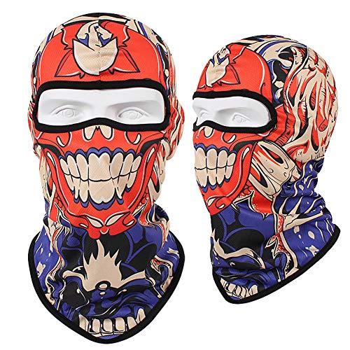LALEO 3D Schädel Balaclava Radfahren Volle Gesicht Maske Hüte Helm Winddicht Atmungsaktiv Paintball Fahrrad Bike Ski Schild Anti-Uv Sonne,E