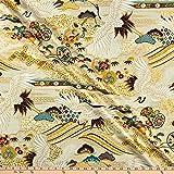 Quilt Gate 0659060 1000 Tsuru II Metallic Cream Fabric