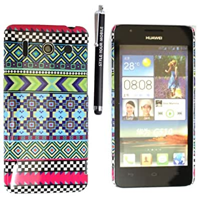 HUAWEI ASCEND G510 U8951 HARD SHELL CASE SKIN PROTECTION COVER + FREE STYLUS (AZTEC LIGHT TRIBAL RETRO VINTAGE)