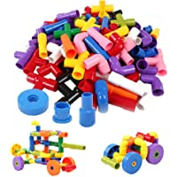 KHUSH Plastic Colorful Creative Educational Construction Plastic Water Pipe Shape Building Blocks Toy for Kids…
