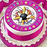 In Bowling Pink Star Bordüre 19,1cm vorgeschnittenen Essbarer Zuckerguss Kuchen Topper Dekoration
