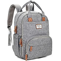 Changing Bag Backpack, Baby Diaper Bag Nappy Back Pack With Changing Mat For Mom & Dad (Grey)