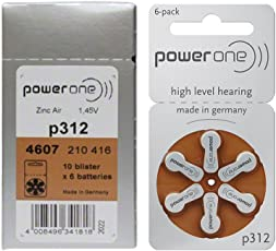 Power One 312 Hearing Aid Battery, 60 Pieces (Multi Color)