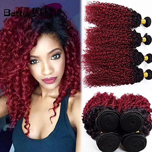8A Brasilianisch Mensch Haar Erweiterungen Kinky Gelockt Echthaar Tressen Haarverlängerung Weben 2 Ton Schwarz zu rot 100% Unverarbeitet Mensch Haar Schuss 1 Bündeln 100g , 14