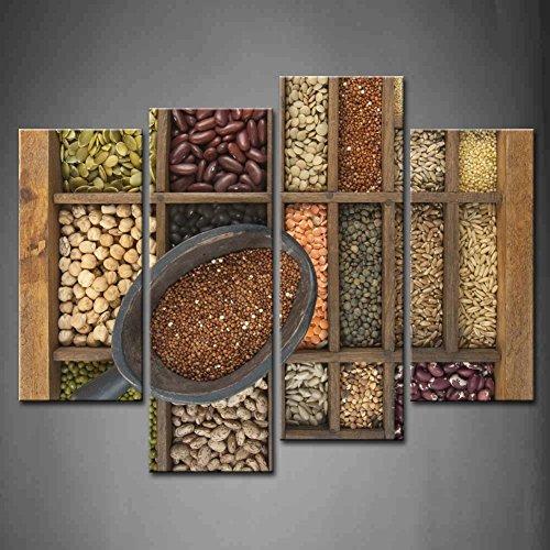 4-panel-de-pared-art-marron-cuchara-de-rojo-quinua-y-una-variedad-de-granos-grano-semillas-en-old-de