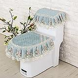 WANG-shunlida WC-Kissen aus drei WC-Sitz Cover Hohe Luxus Reißverschluss Kissenbezug Rice Green