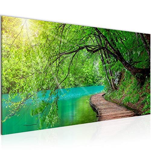 Photo Pont sur le lac Décoration Murale 100 x 40 cm Toison - Taille XXL Salon Appartement Décoration Photos d'art Vert 1 parties - 100% MADE IN GERMANY - prêt à accrocher 003212a