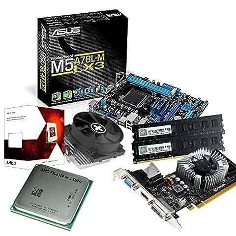 tronics24 PC Aufrüstkit | AMD FX-6300 6x 3.5GHz Hexa-Core | 8GB DDR3-RAM PC-1333 | Nvidia GeForce GT730 4GB | Asus M5A78L-M LX3 Mainboard mit AMD 760G Chipset | Gigabit-LAN | Soundkarte