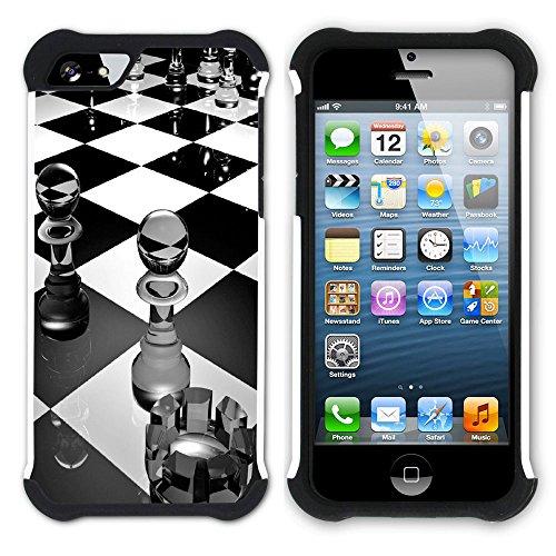 Graphic4You Schach Spiel Schach-Vorstand Hart + Weiche Kratzfeste Hülle Case Schale Tasche Schutzhülle für Apple iPhone SE / 5 / 5S Design #4