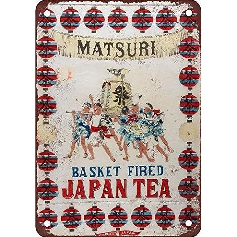 Matsuri Basket Fired Giappone tè stile vintage Riproduzione in metallo Tin Sign 30,5x 45,7cm