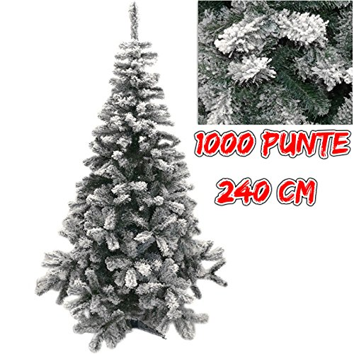Natale albero verde innevato lapponia abete artificiale 240 cm pino 1000 punte rami neve