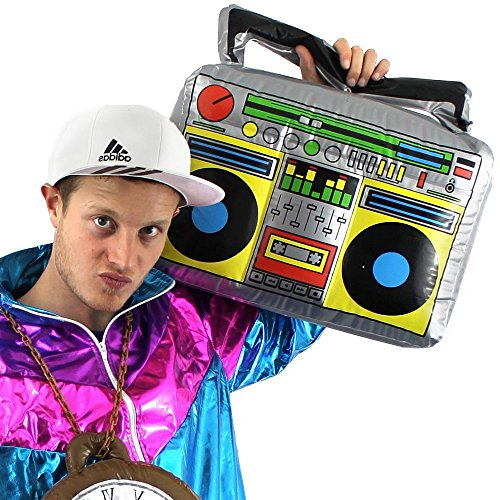 German Trendseller® - Aufblasbares Radio XXL ┃ Ghettoblaster ┃ 46 cm x 30 cm ┃ Party Dekoration ┃ Rapper und Gangster ┃ Boom Box ┃ 80´s - 90´s ┃ Karneval / Fasching (Ghetto Rapper Kostüm)
