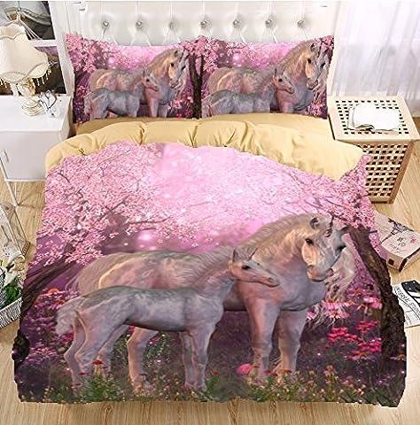 Unicorn 3D Bedding Set Monocerus Print Duvet cover set Twin