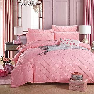 Alicemall 4 Teilig Bettwäsche Set Bettbezug 200 x 230 cm Reißverschluss Einfarbig Bettwaren Öko-Tex-Standard 100