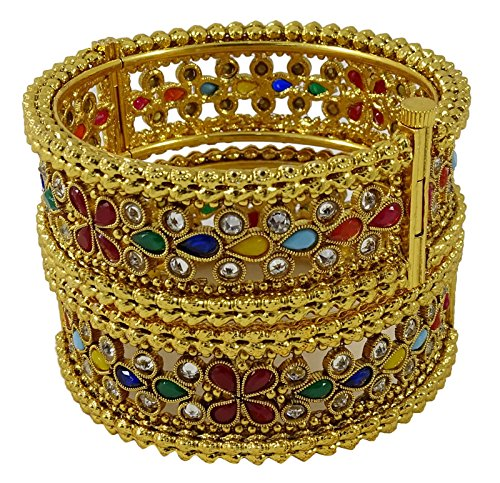 Matra Goldtone Ethnisches Bollywood traditionelles Hochzeits Armband Kada Bangles Schmuck Sachen 2*6