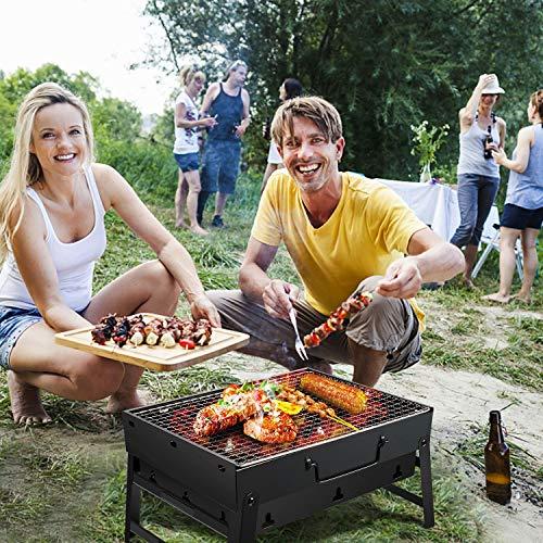 61WTA1pWuHL - Gifort Portable Grill, BBQ Holzkohlegrill Tragbar Mini Grill mit Rostfreier Stahl BBQ Drahtgeflecht Faltbare Mini Holzkohlegrill BBQ für Outdoor Garten Camping Party Beach Barbecue