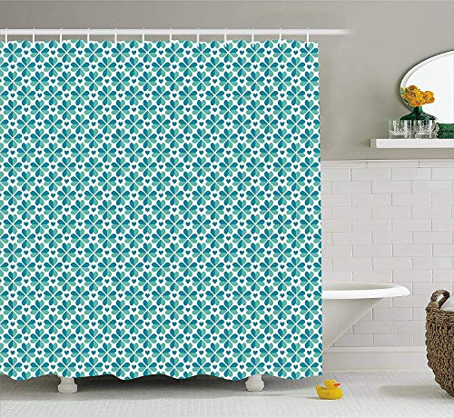 BUZRL Teal Shower Curtain, Romantic Composition with Clover Shape Ornament and Hearts Luck Fortune Love, Fabric Bathroom Decor Set with Hooks, 66x72 inches, Teal Sea Green White