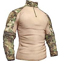 Memoryee Camicia a Maniche Lunghe da Combattimento Tattica Militare da Uomo con T-Shirt Camo Slim Fit con Cerniera e…