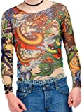 infactory Longsleeve Tattoo Shirt: Tattoo-Shirt Panther & Dragon (Tattoo-Shirt für Verkleidung)
