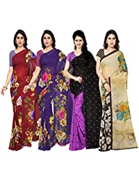 Anand Sarees Faux Georgette Combo Of 4 Saree (Pack_Of_4_1052_3_1052_4_1262_4_2942_3_Multicolor_Free Size)
