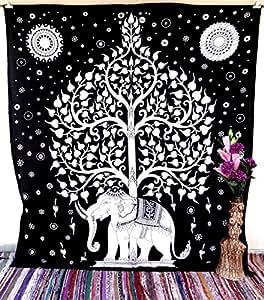 Handicrunch Mandala Wall hanging, Home décor tapestry, Handicrunch White Black Elephant Tree of Life Large Bedspread Mandala Tapestr...