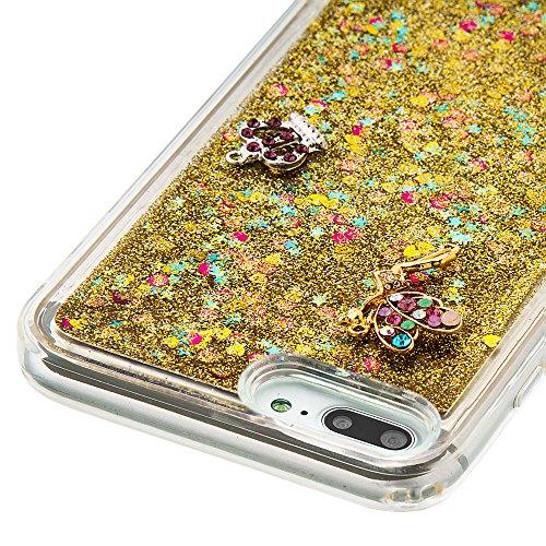 Case iPhone 7 Plus 3D Bling Diamant Design Coque, Sunroyal Glitter Bling Bling Dual Layer en Soft TPU Silicone Housse Transparent Clair Back Cover Strass Cristal Protecteur Étui Paillettes Flottant Li A-05