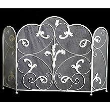 Pare fuego de chimenea o estufa con tres caras de rejilla pantalla de foco rejilla de protección de hierro blanco 70x 114cm