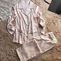 PPOJAS Schlafanzug Nachthemd-Pyjamas der Frauen eingestellt mit Umlegekragen Neue Ankunfts-Silk Langhülse Tuch + lange Hosen-Hauptabnutzung