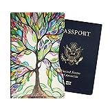 Fintie Funda para Pasaporte - Súper Delgada y Ligera Cubierta Cover Case de Cuero Sintético Superior Protector con Bloqueo RFID para Pasaporte, Love Tree