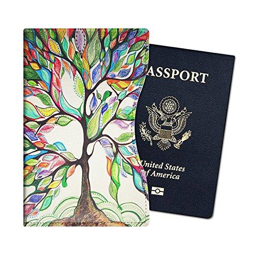 Fintie Funda Pasaporte - Ultra Slim Cuero PU Porta Pasaporte de con Protección RFID, Love Tree