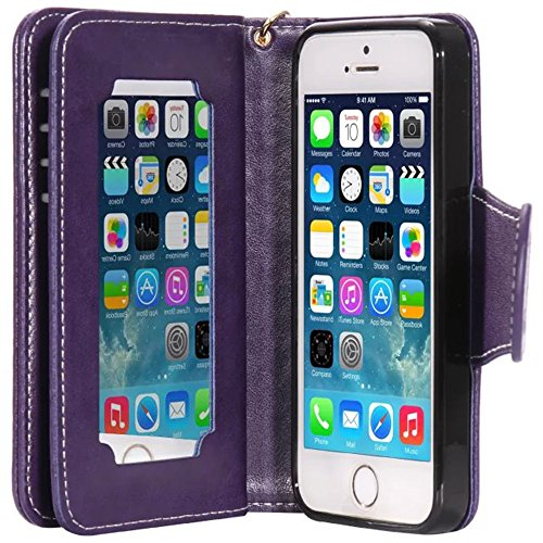 Nnopbeclik Flip Leder Hülle Für Apple Iphone 5 /5S /SE, Folio PU Leather Wallet Blume Case mit Karte Halter-Magnetverschluß-Klappbar Stand, Drucken Mädchen-Blume-Tier-Vogel Niedlich Karikatur Cartoon  Lila