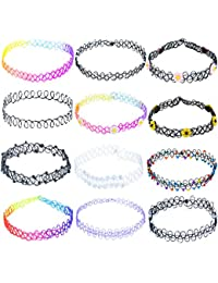 ZWOOS Tattoo Necklace Rubber Collar Henna Tattoo Necklace Choker Stretch Gothic Elastic Set of 12