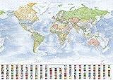 J.Bauer Karten Carte du Monde (Politique), 140x100 cm, Edition 2017...