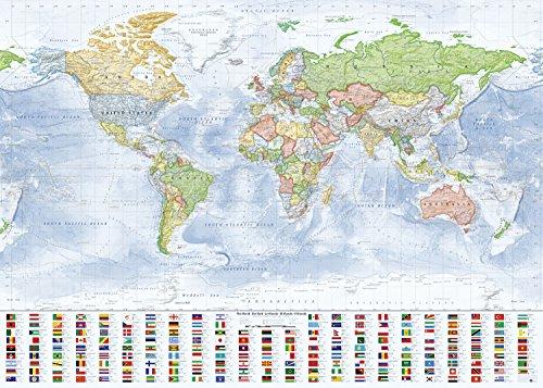 J.Bauer Karten Weltkarte Politisch, 140x100 cm, Folien-Beschichtetes Poster, Stand 2017 (Sprachen Weltkarte)