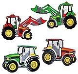 """4 Stück _ Bügelbilder - """" Traktor - verschiedene Modelle """" - 8,5 cm * 5,6 cm - Aufnäher Applikation - gestickter Flicken - Traktoren - Bauernhof / Kinder Jungen - Auto - Landwirtschaft - Fahrzeug - Traktorset"""
