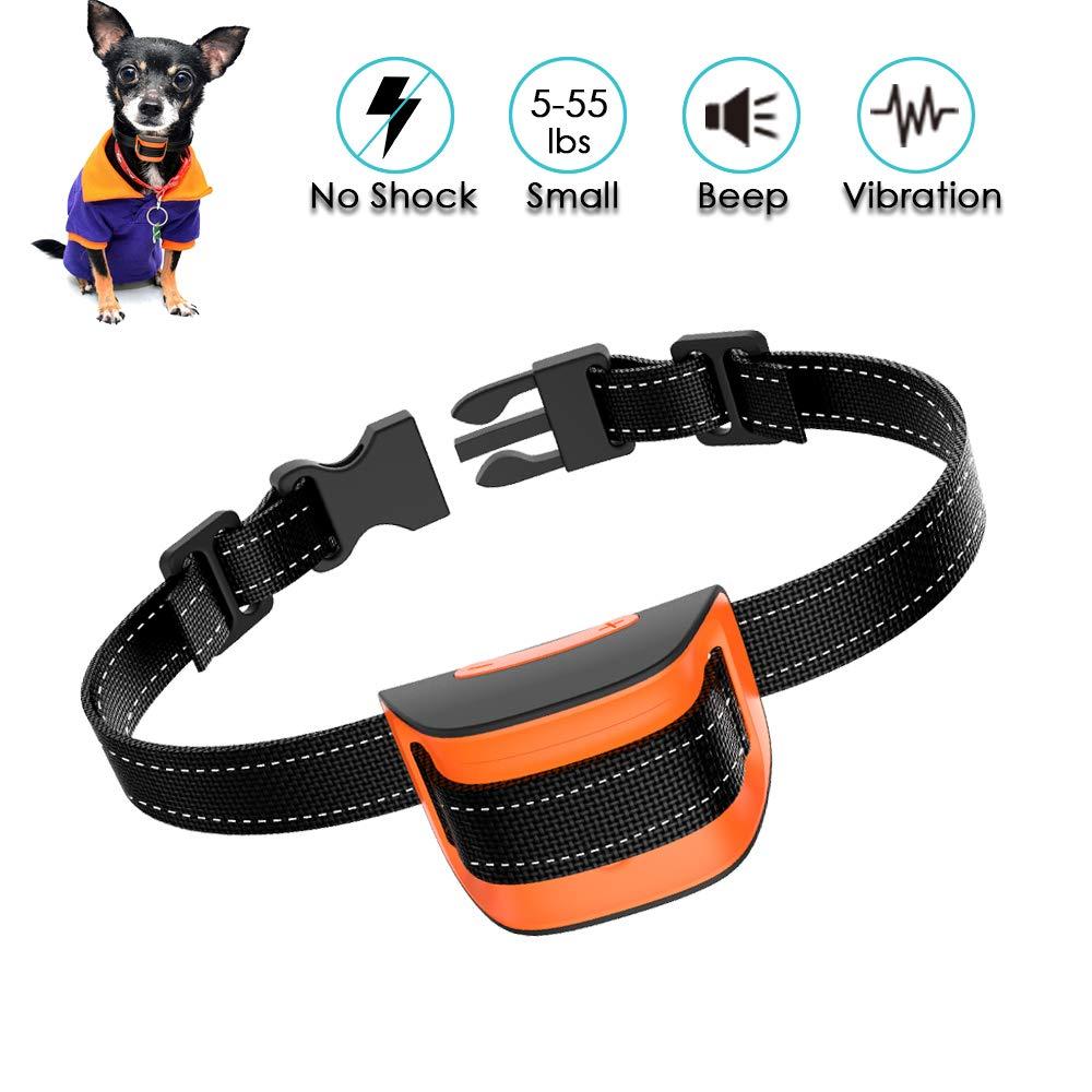 MASBRILL Anti Bark Dog Collar, Stop Barking Deterrent Device for Small Large Dogs, Harmless & Humane Anti-bark Training Collar with Sound & Vibration Adjustable 7 Levels Sensitivity – Orange