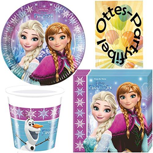 Nordlicht Frozen Eiskönigin Anna & Elsa 52tlg. Party-Set Teller Becher Servietten für 16 Kinder