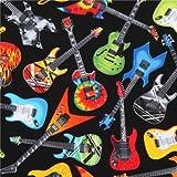 Schwarzer Stoff mit bunter blauer oranger Gitarre von