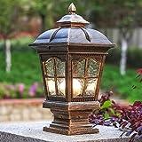 HDMY Column Post Light Vintage Metallsäulen-Pole-Lampe mit E27-Sockel-Mittelmeerlandschafts-Beleuchtungs-Befestigungs-Gartenzaun-Rasen-Patio-Eingang (Color : Brown)